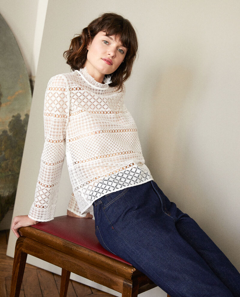Openwork lace blouse Off white Garian