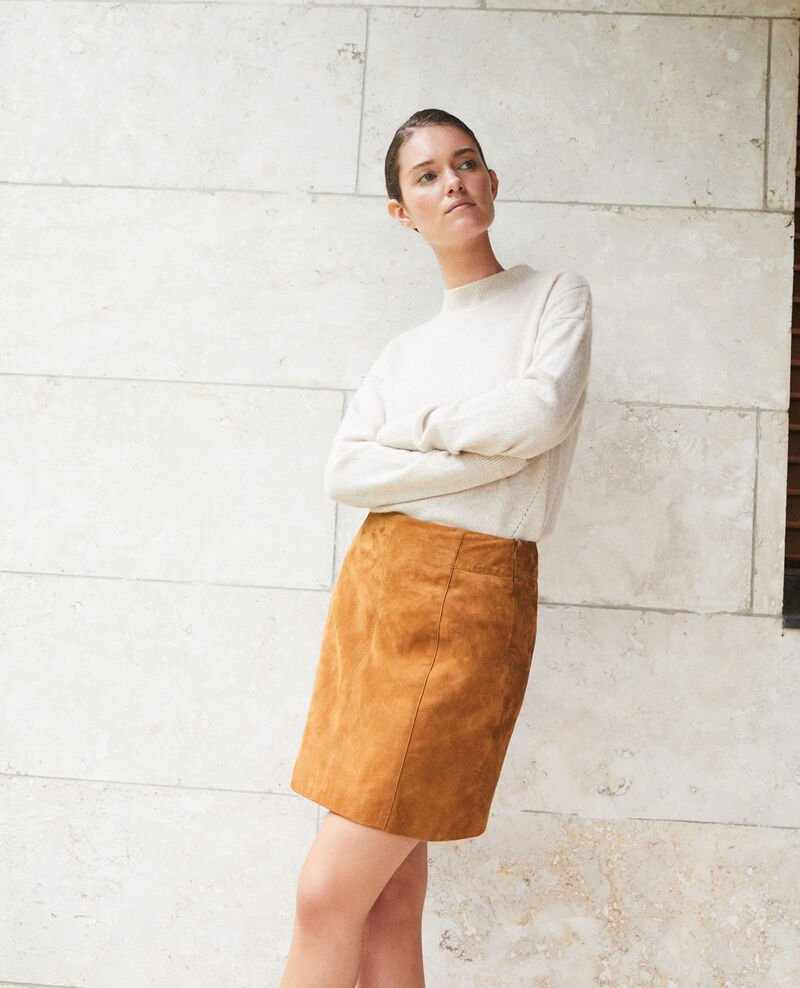 Suede pencil skirt Golden brown Georgiane