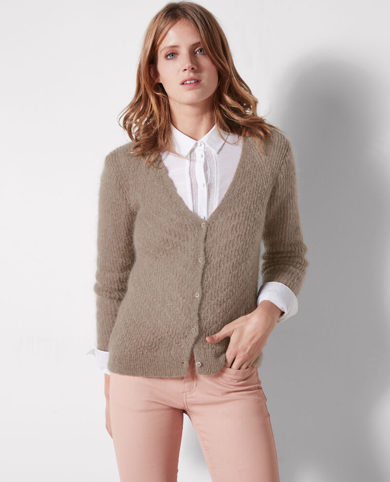 Cardigan with mohair and wool Moka Celestine