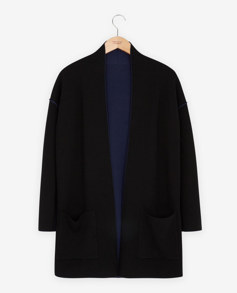 Reversible wool cardigan  Marine/black Finger