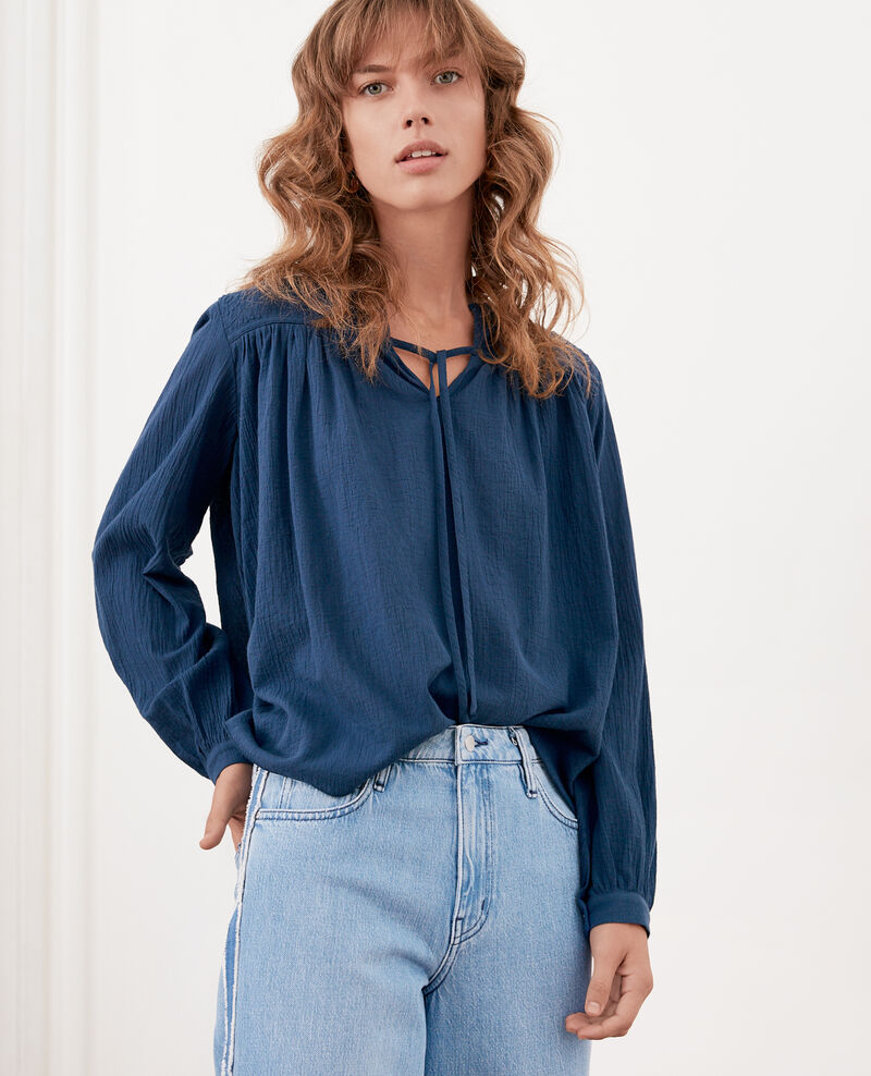 Blouse with lace  INDIGO