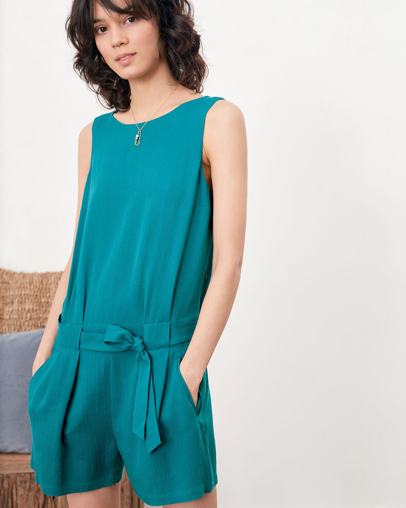 Playsuit with low-cut back PACIFIC GREEN
