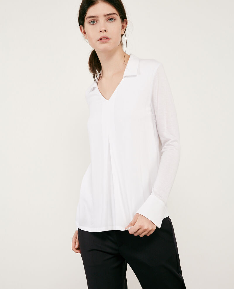 Jersey and crêpe shirt Blanc 9capados