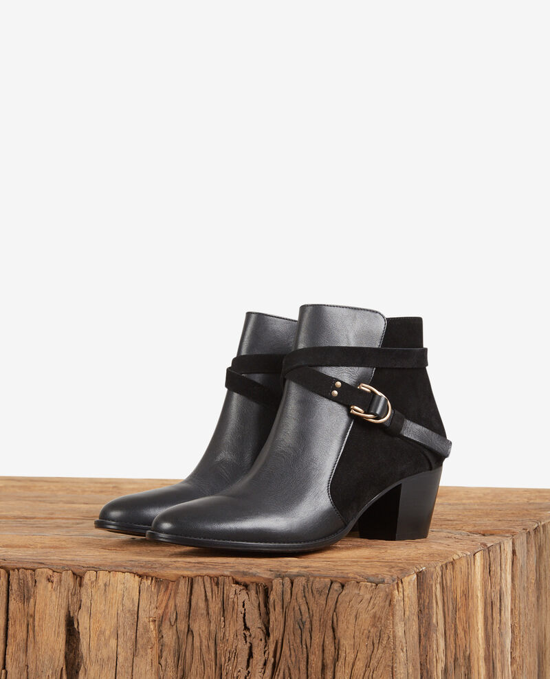 Leather panelled boots Noir Dessuite