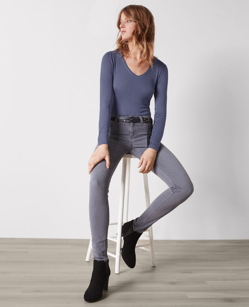 """""""Luxurious second skin"""" long-sleeved shirt in cashmere and modal Ink blue Castien"""