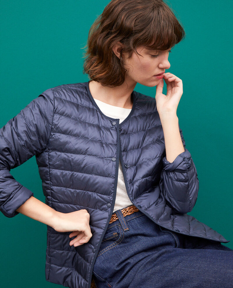 Ultra-light padded jacket with round collar NAVY