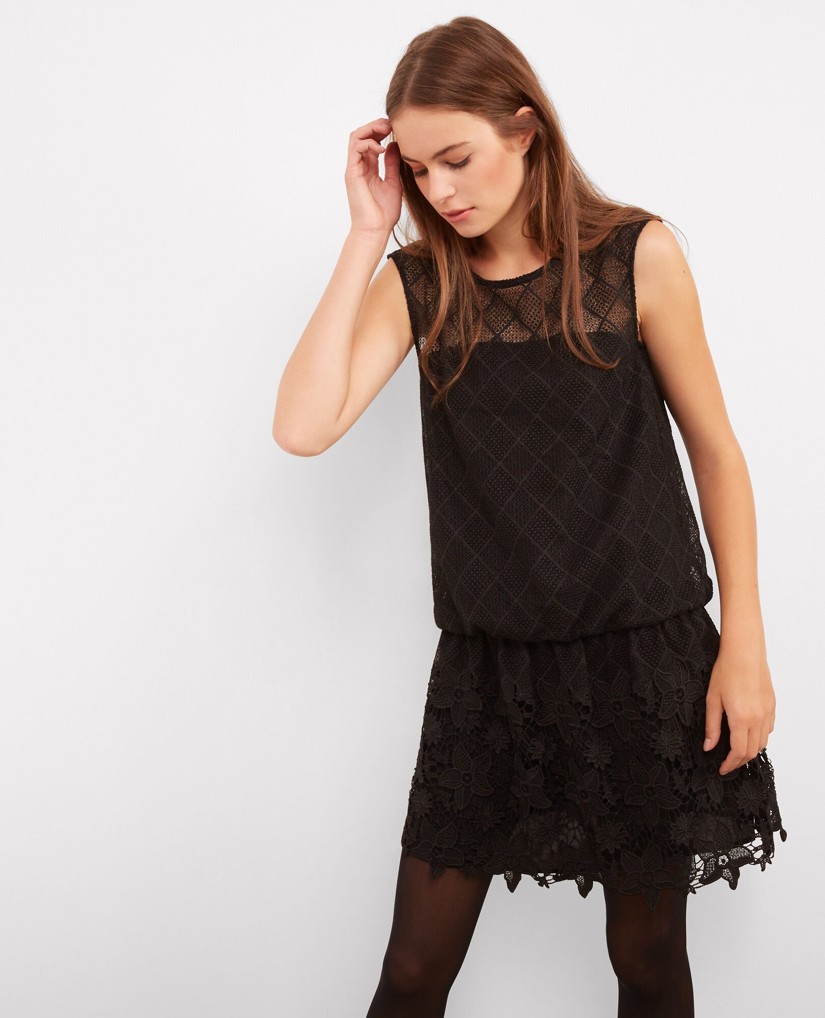 Lace and guipure dress Noir Bancing