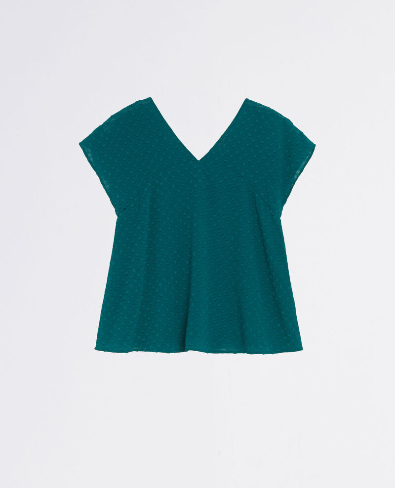 Loose-fitting top in dotted Swiss voile Berlin blue Citop