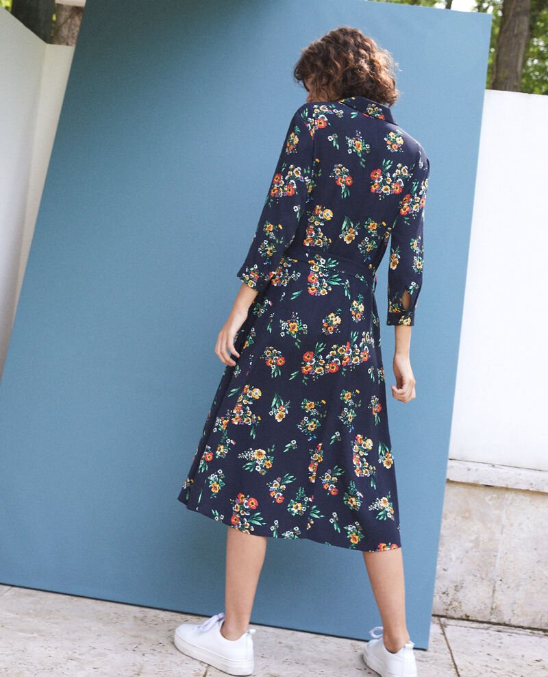 Mid-length dress Fleurs navy Fidji