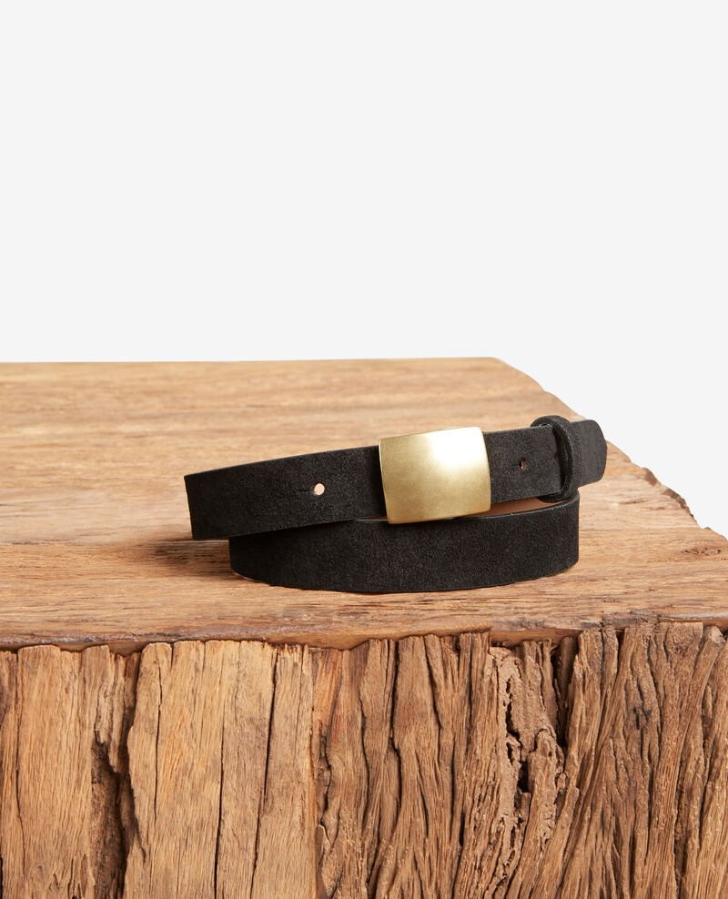 Split leather belt Noir Faille