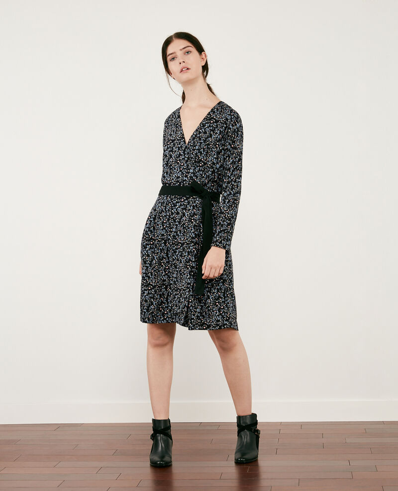Printed wrapover dress Wildcat black Darleville