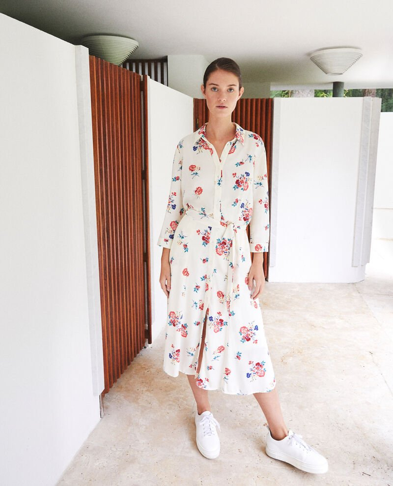 Mid-length dress Fleurs off white Fidji