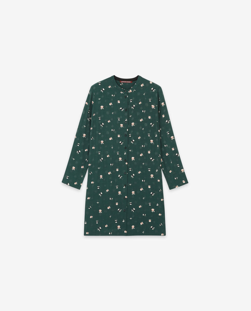 Printed shirt dress Pinecones deep green 9delgaudio