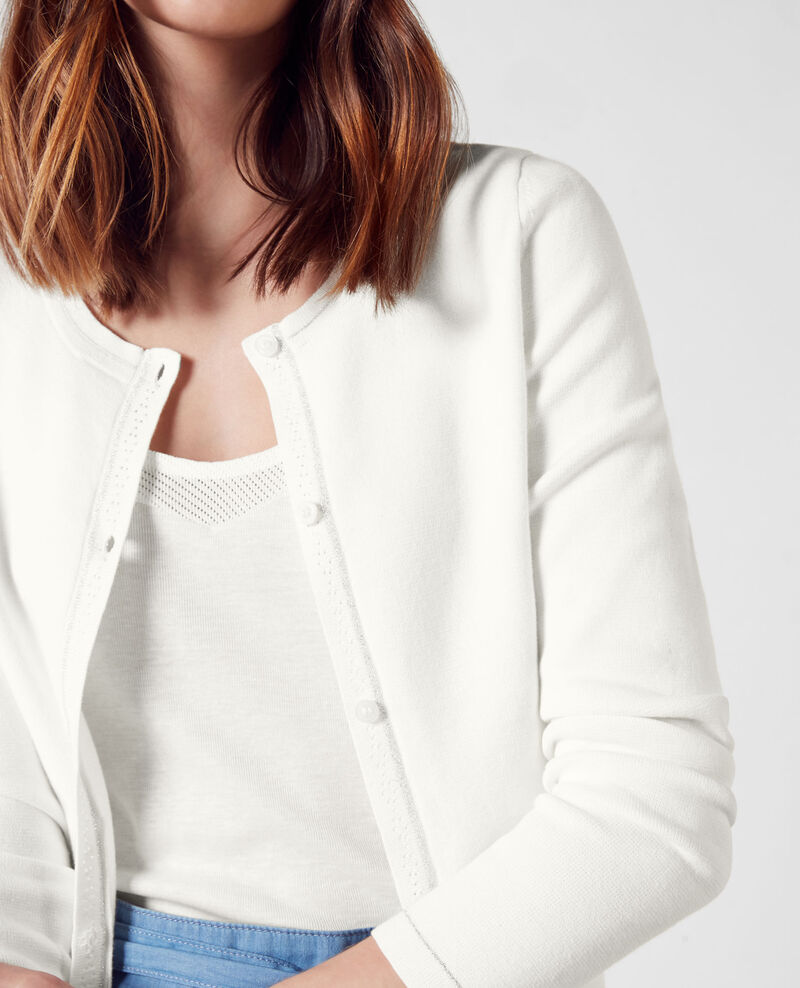 Cardigan with lurex detail Off white Cognac