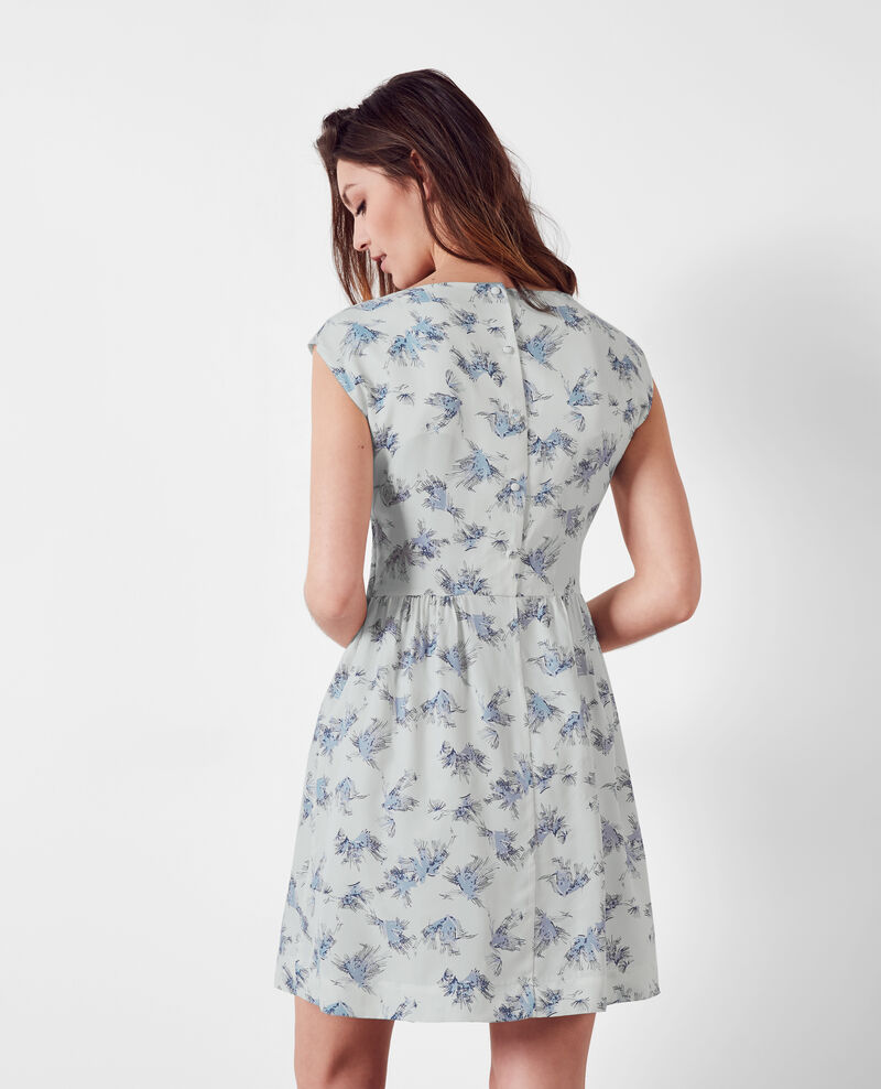 Cupro print dress Anemone indigo 9clochette