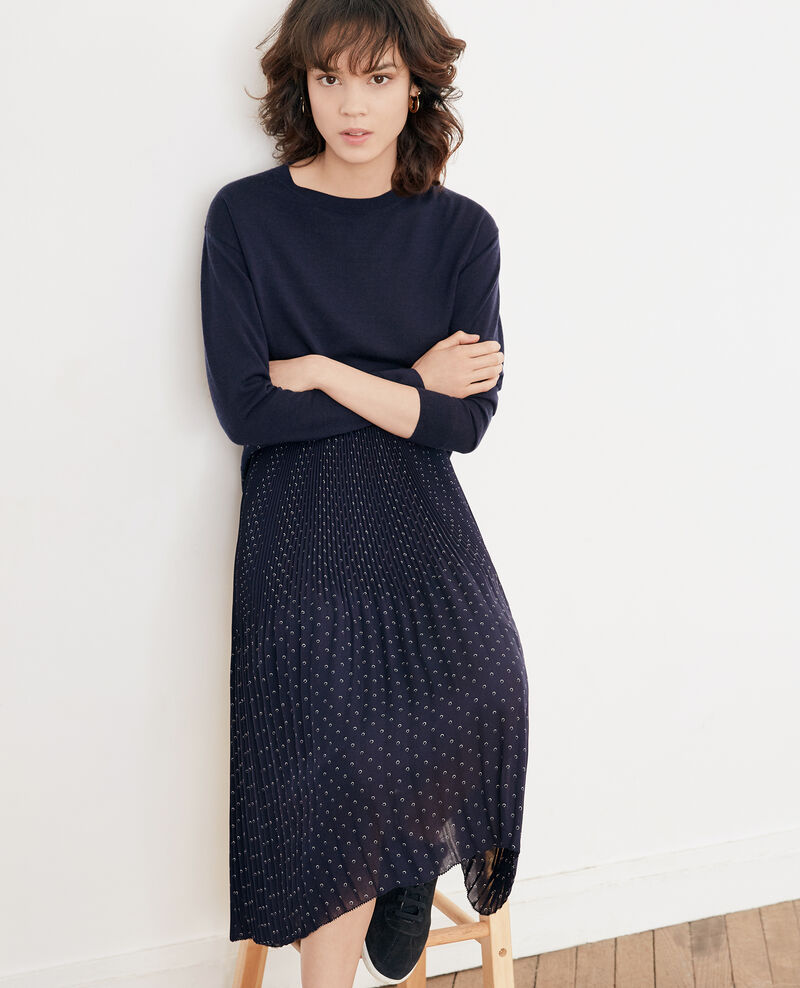 Pleated skirt with spots Ring dots marine Filoute