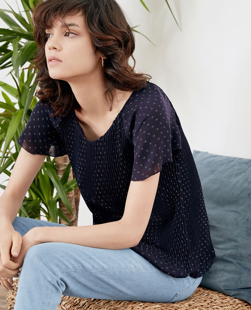 Pleated blouse RING DOTS MARINE