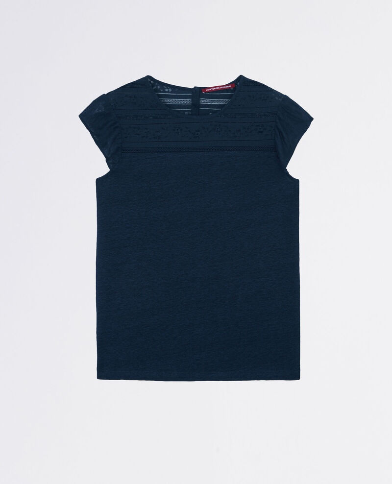 Linen t-shirt with lace detail and frills Midnight Choupi