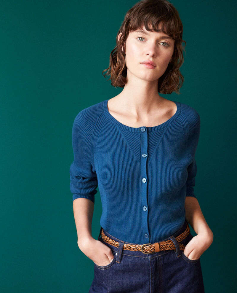 Cotton cardigan MAJOLICA BLUE