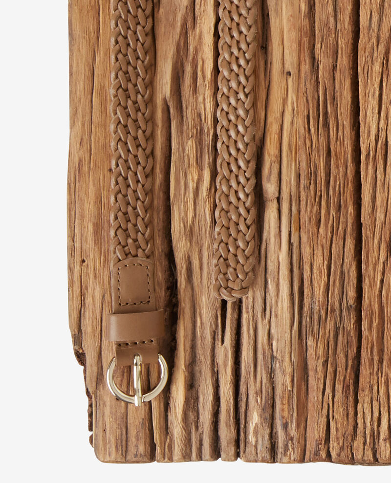 Braided leather belt Light cognac Frise