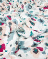 Crinkle-effect printed scarf Poppies off white Daccord