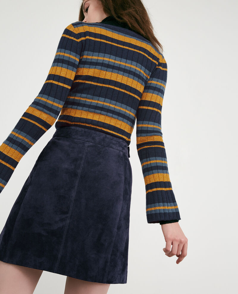 Ribbed wool jumper with high shine lurex inlay Deep sea/fjord light/curcuma Diademe