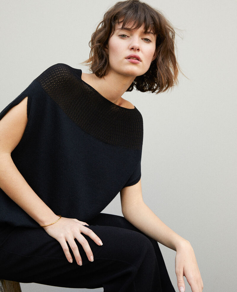 Bubble-shaped whole garment jumper NOIR
