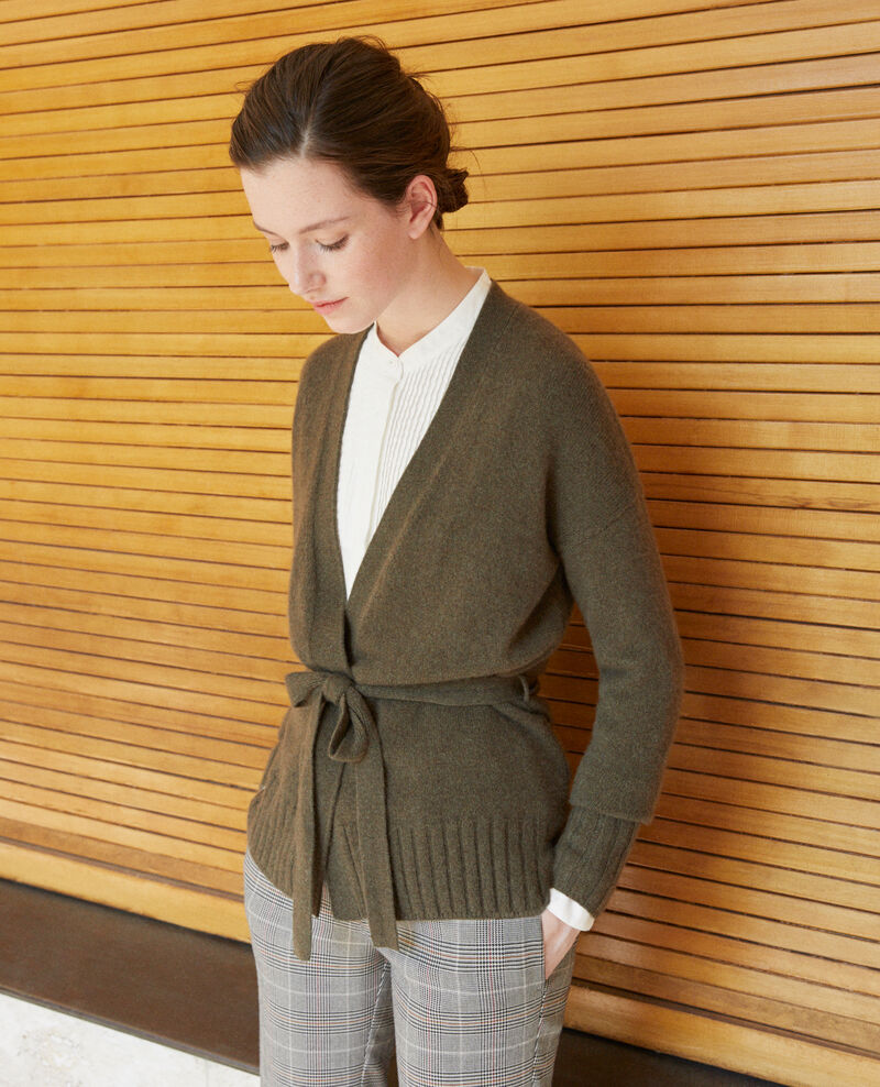 Wrapover cashmere cardigan OLIVE NIGHT