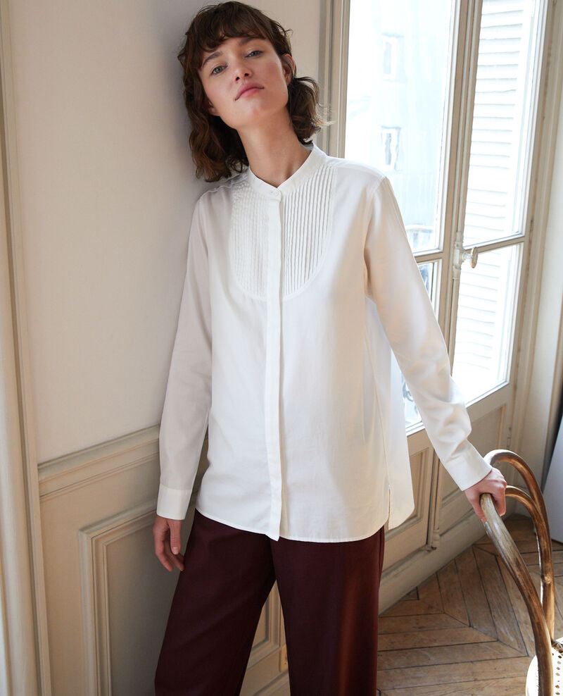 Mandarin collar shirt Off white Ganane