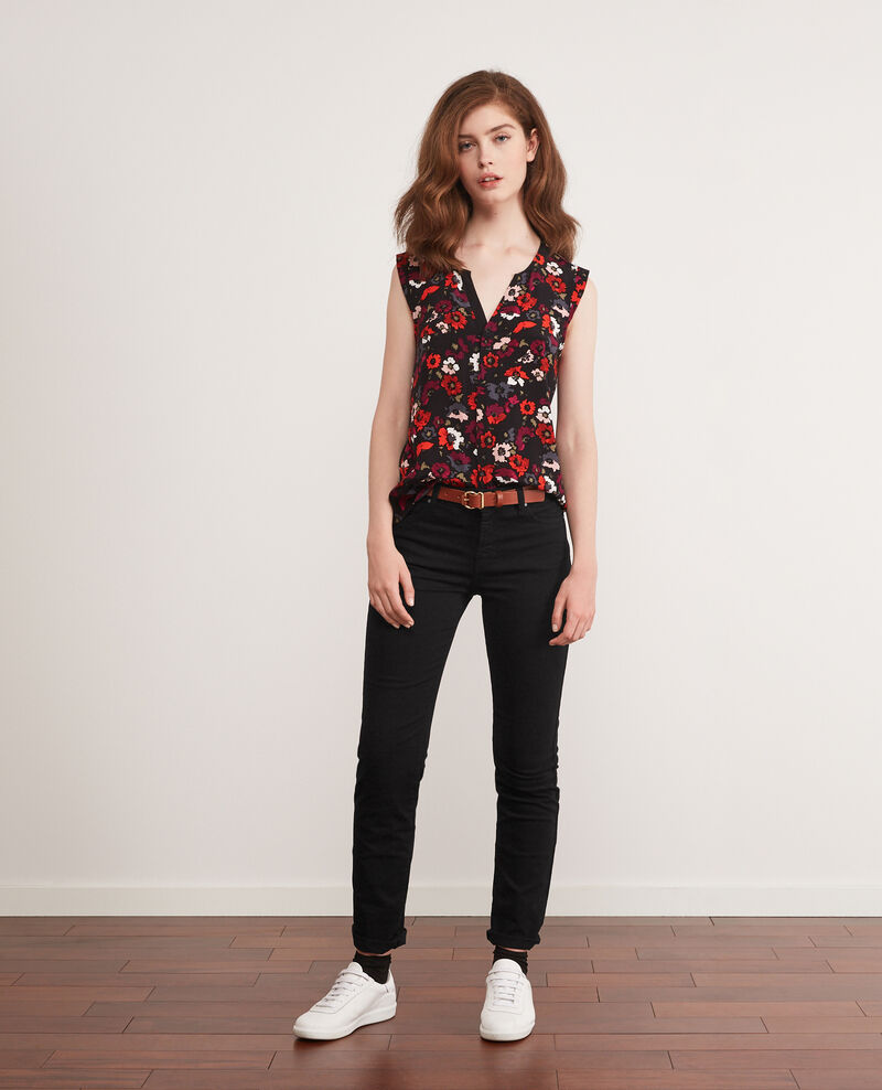 Printed wrap-fronted blouse Poppies black Donjuan
