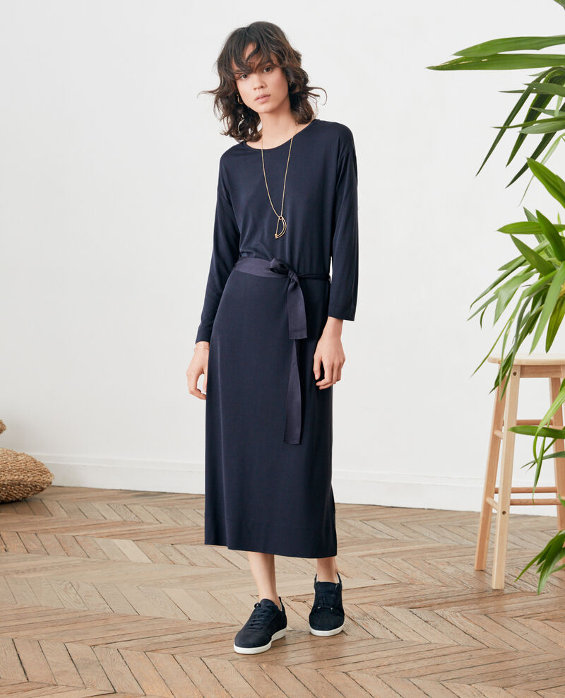 Loose dress with belt NAVY
