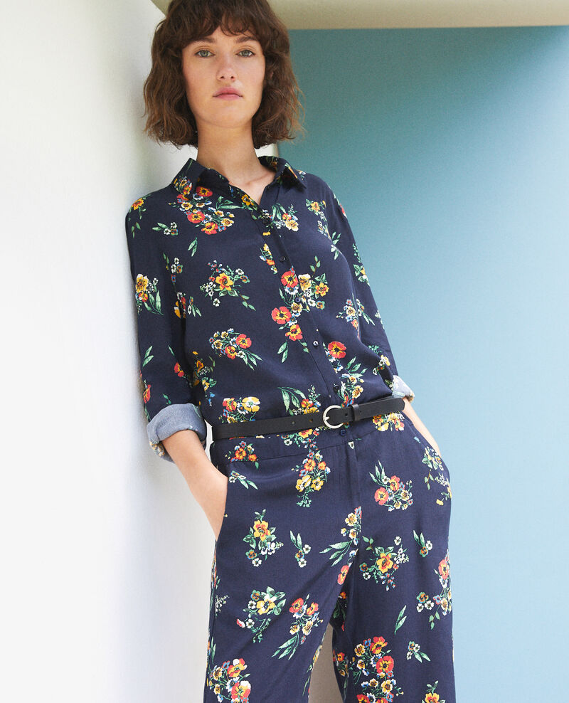 Shirt jumpsuit Fleurs navy Forecast