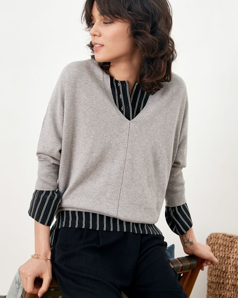 Jumper with 3/4 sleeves Light grey Fabienne