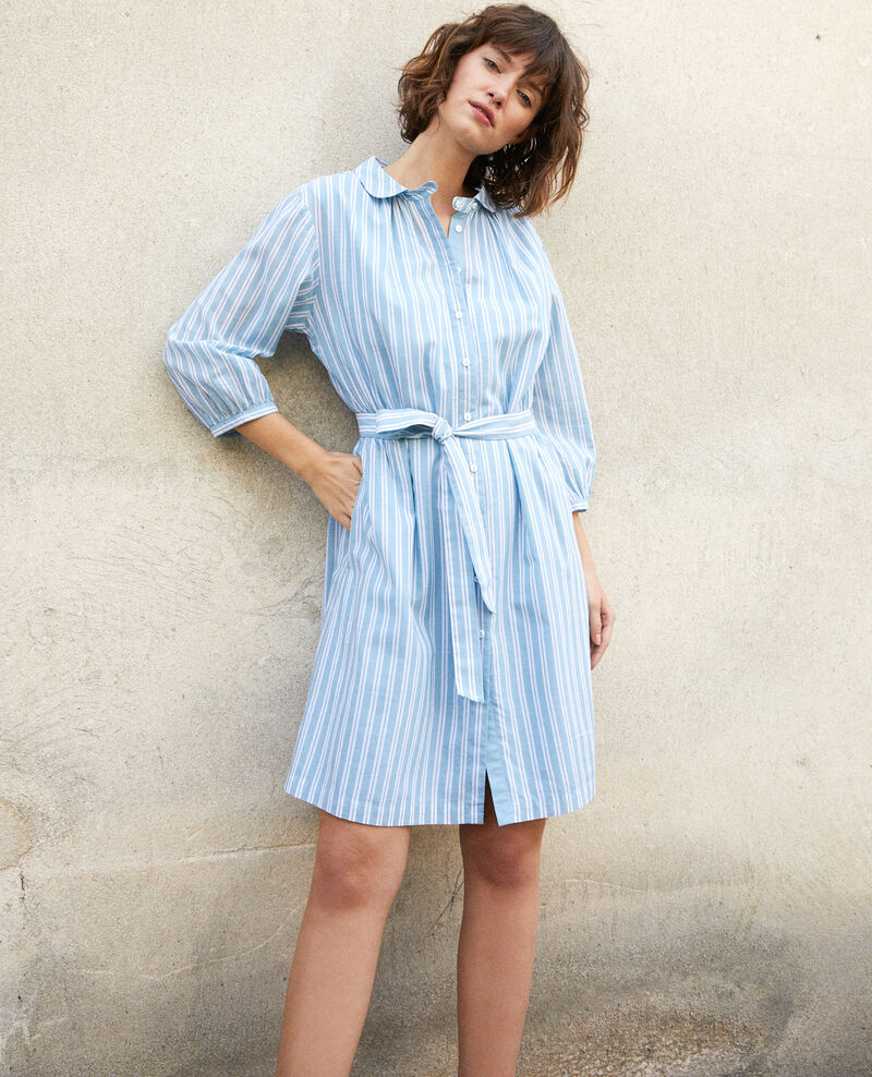 Shirt collar dress Adriatic/off white stripes Gardenia
