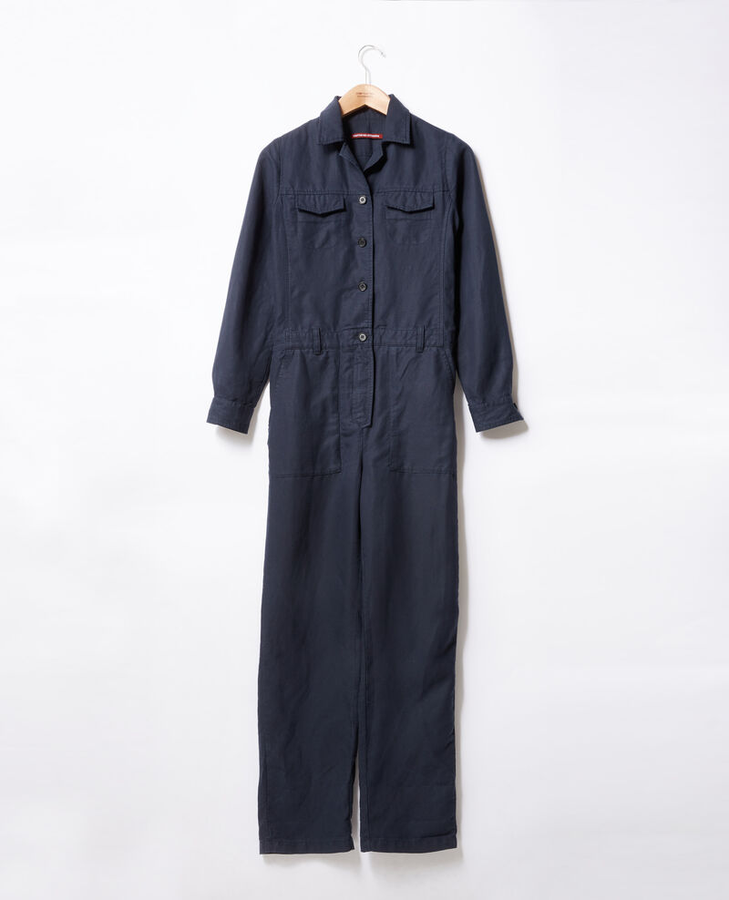 Safari-style jumpsuit with linen Marine Fruit