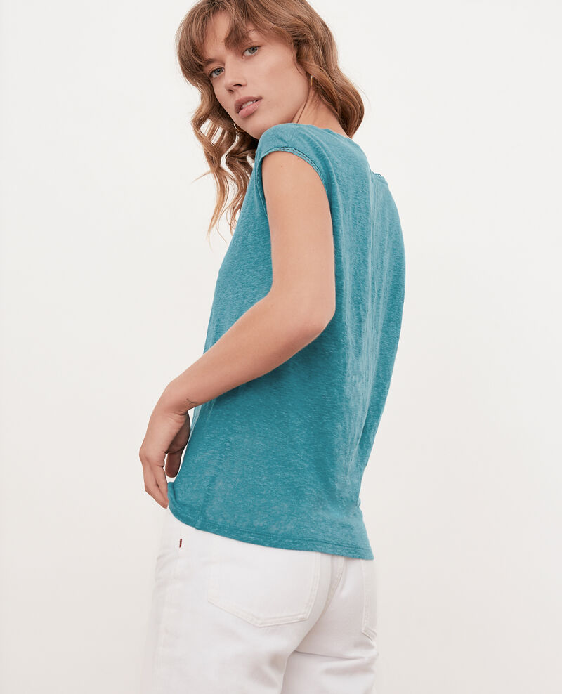 Linen T-shirt Pacific green Fevian