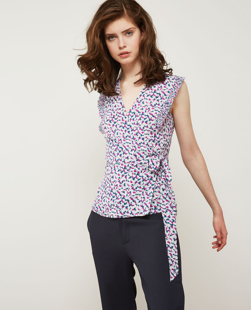 Printed silk blouse BUBBLES PEONY