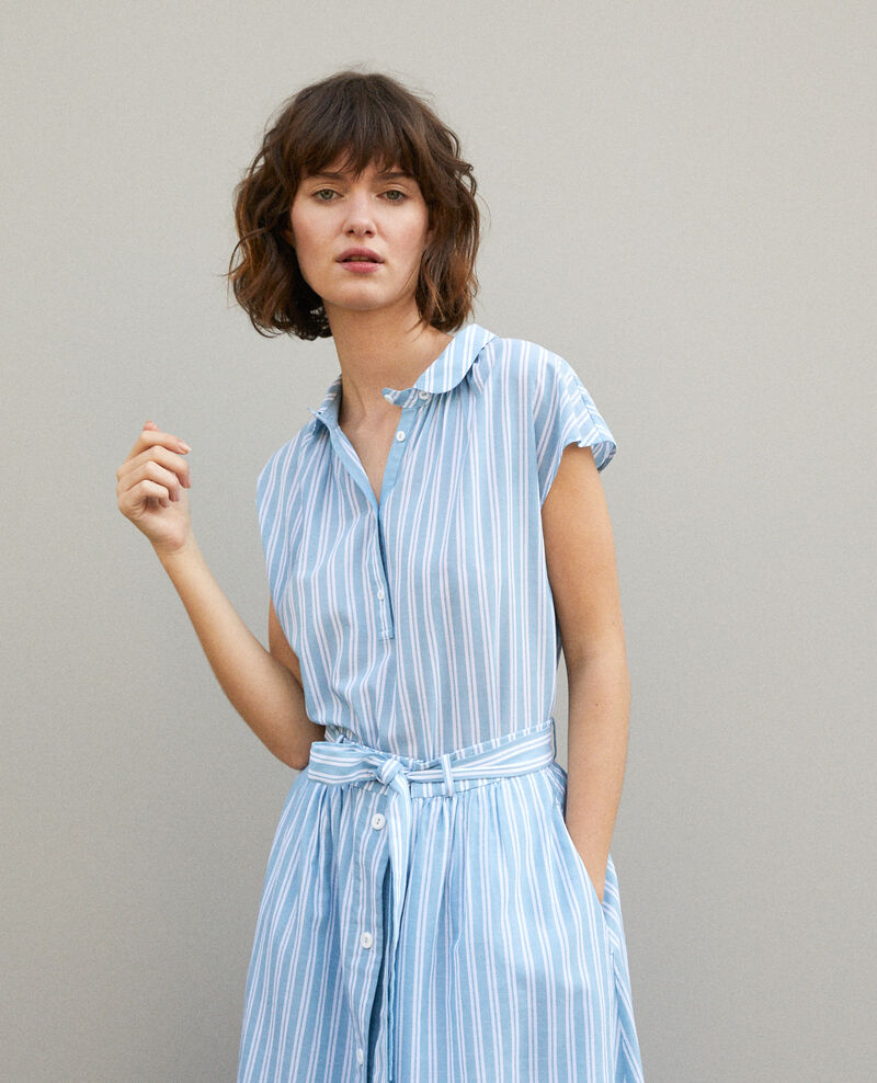 Shirt with round collar ADRIATIC/OFF WHITE STRIPES
