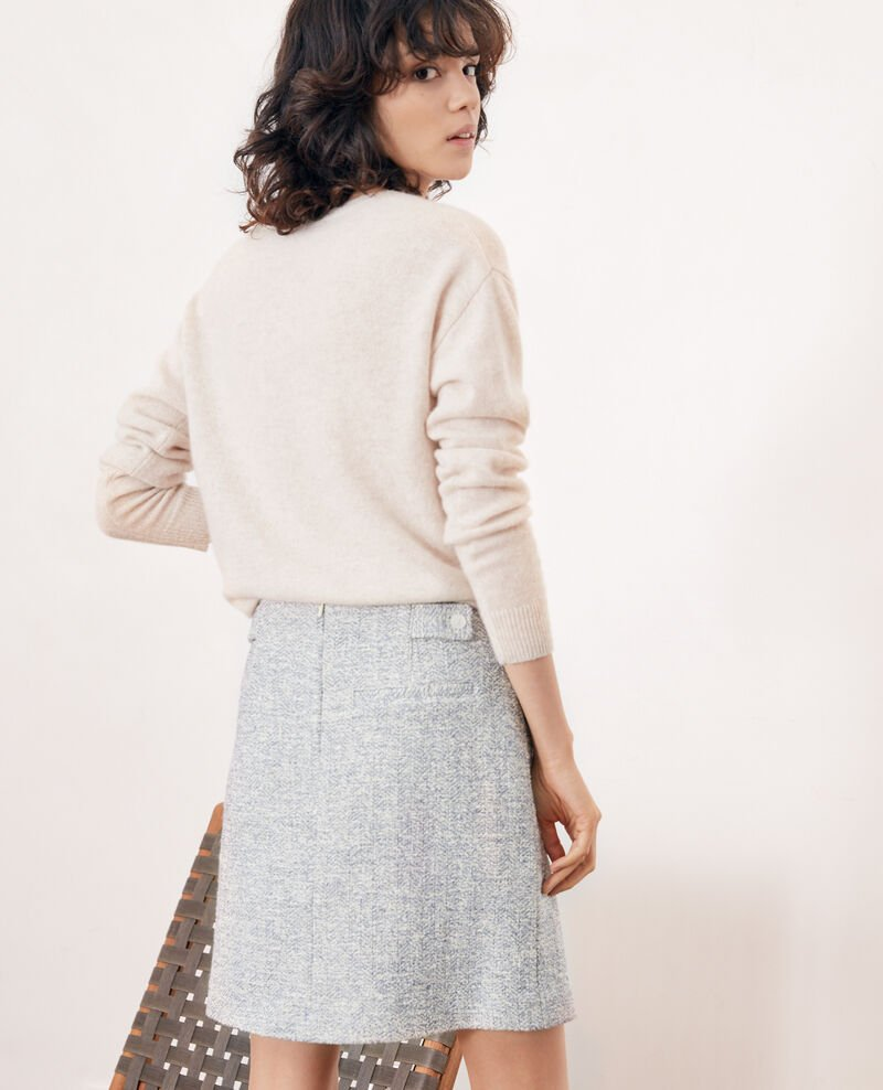 Tweed-style skirt Indigo/off white Fang