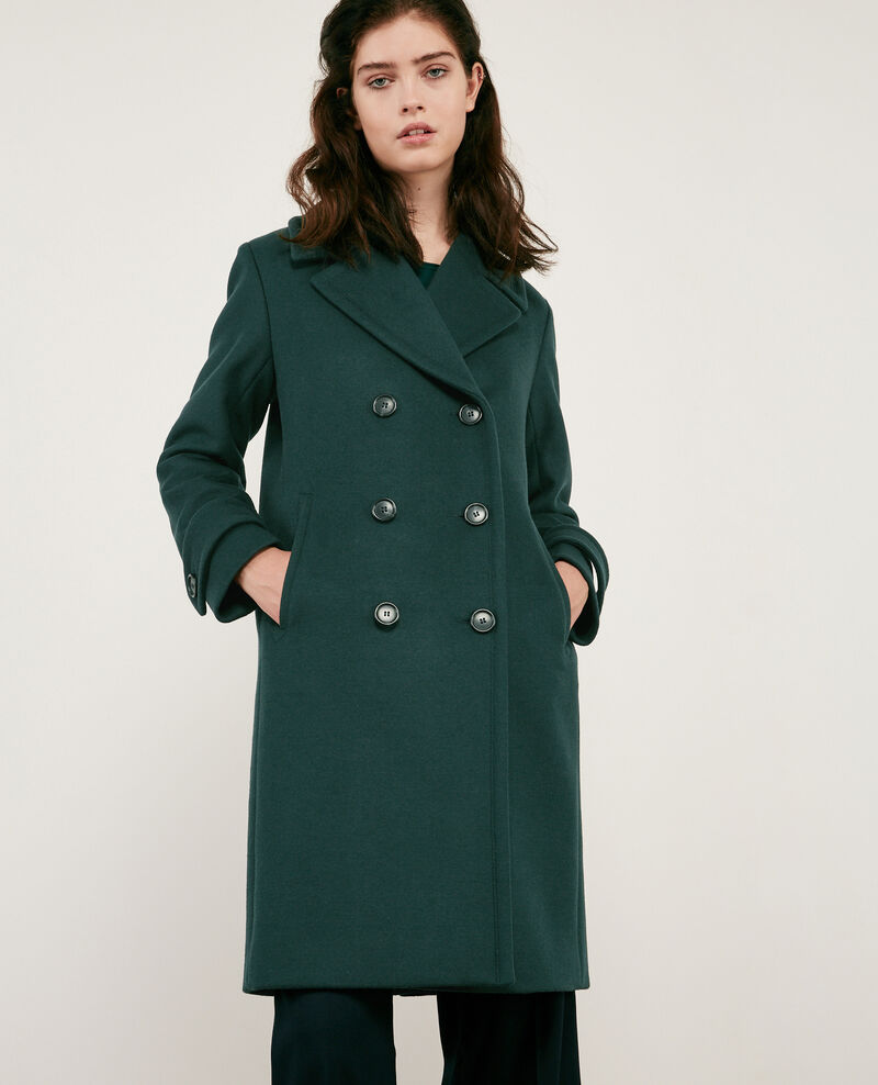 Wool blend pea coat Deep green Didanglas