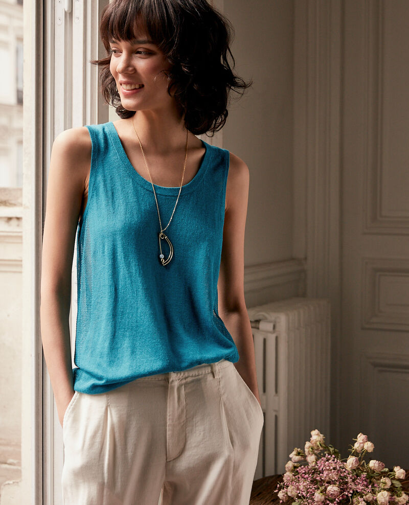 Knit tank top with openwork details Pacific green Flanelle
