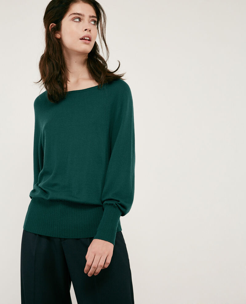 Lightweight 100% merino jumper Deep green Dessert