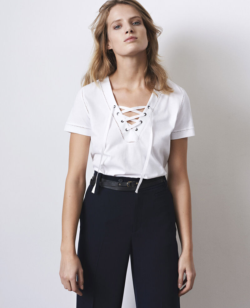 T-Shirt with lacing Off white Caravane