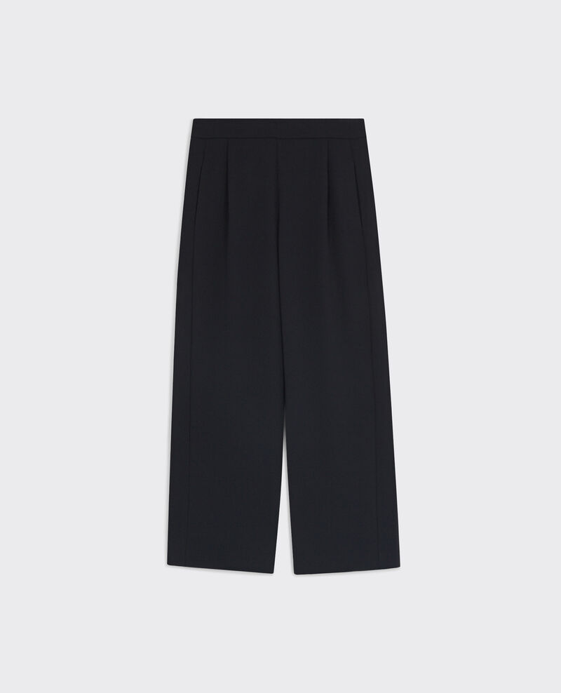 Crepe loose wide-leg trousers Noir Calong