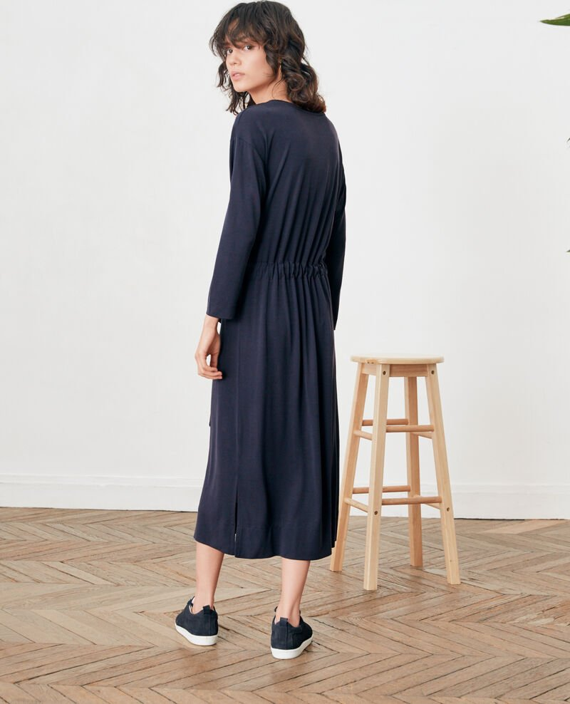 Loose dress with belt Navy Fea