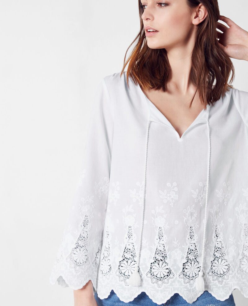 Embroidered cotton blouse Blanc Cerge