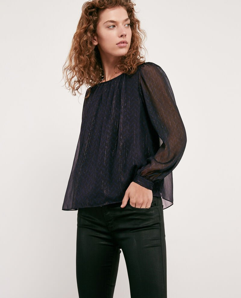 Blouse with lurex details STUDIO 54 NAVY