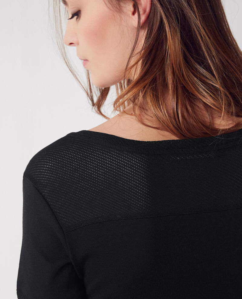 T-shirt with openwork details Noir Colombia