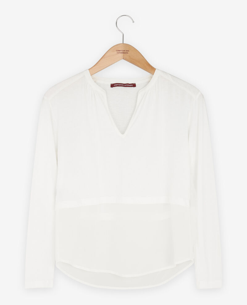 Bimaterial T-shirt with silk Off white Fabio