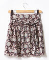 Printed silk skirt Darjeeling black Fiona